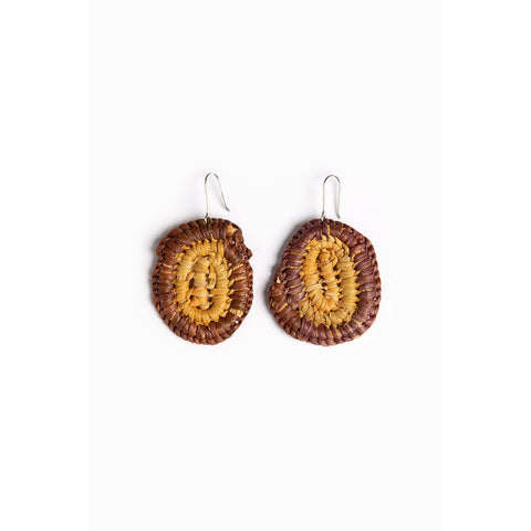 Woven pandanus earrings - brown and ochre - Stylish Australiana - Ethical Australian Gifts and Souvenirs