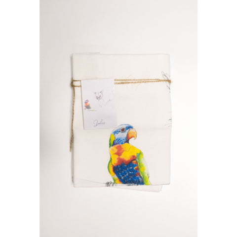 Native Australian animal tea towel rainbow lorrikeet and possum bush critter conversations Australian gift