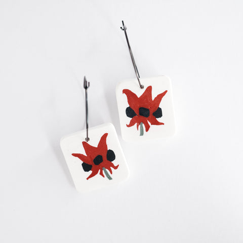 Australian desert flower sturt desert pea polymer clay earrings