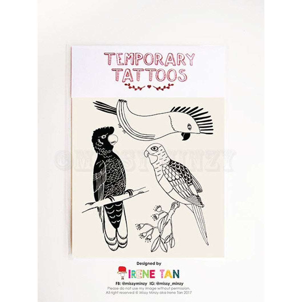 Native Australian animals and native Australian birds temporary tattoos for kids gifts