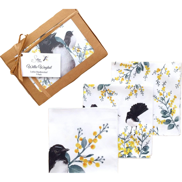 Wagtail and Wattle Ladies Handkerchiefs (3 pack) - Stylish Australiana - Ethical Australian Gifts and