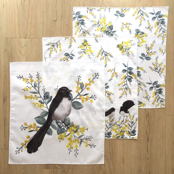 Wagtail and Wattle Ladies Handkerchiefs (3 pack) - Stylish Australiana - Ethical Australian Gifts and Souvenirs