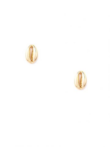 Gold Cowrie Stud Earring