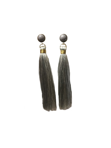 Gray Stud with Tassel Earring