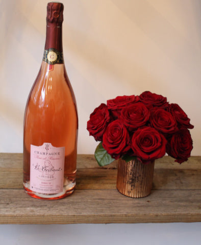 Rose de Reserve Champagne & 12 Red Roses