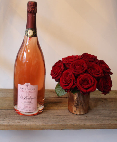 Skinny Rose Champagne & 12 Red Roses