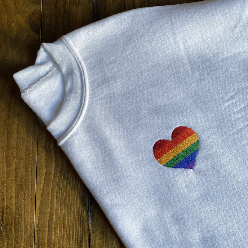 Rainbow Heart Embroidered Sweatshirt