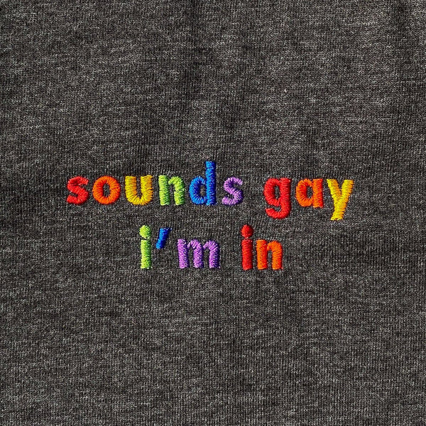 Sounds Gay I'm In Embroidered T-Shirt