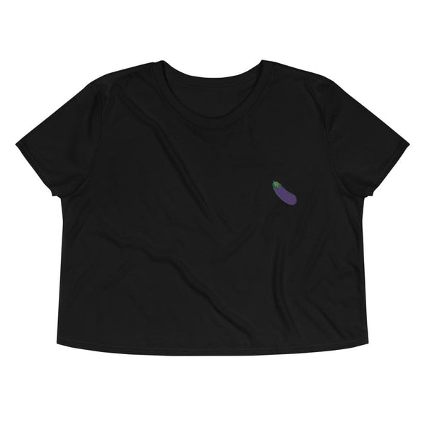 Eggplant Emoji Embroidered Crop Top