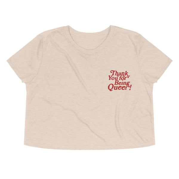 Thank You For Being Queer Embroidered Crop Top