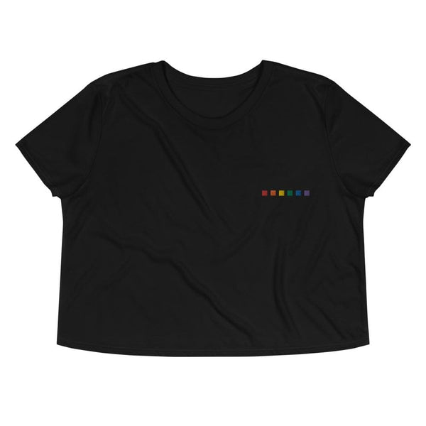 Rainbow Squares Embroidered Crop Tee