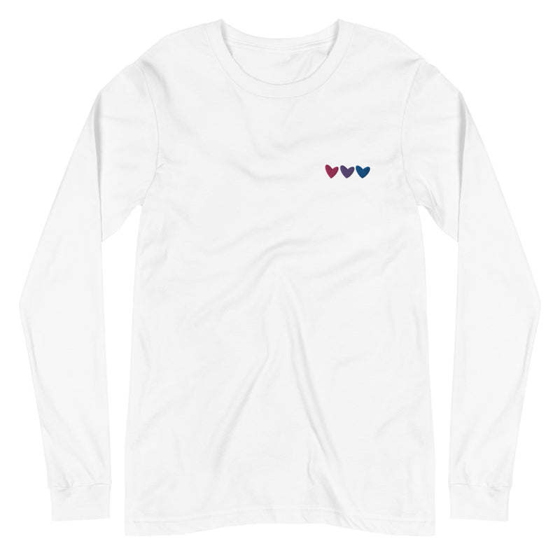 Bisexual Hearts Embroidered Long Sleeve