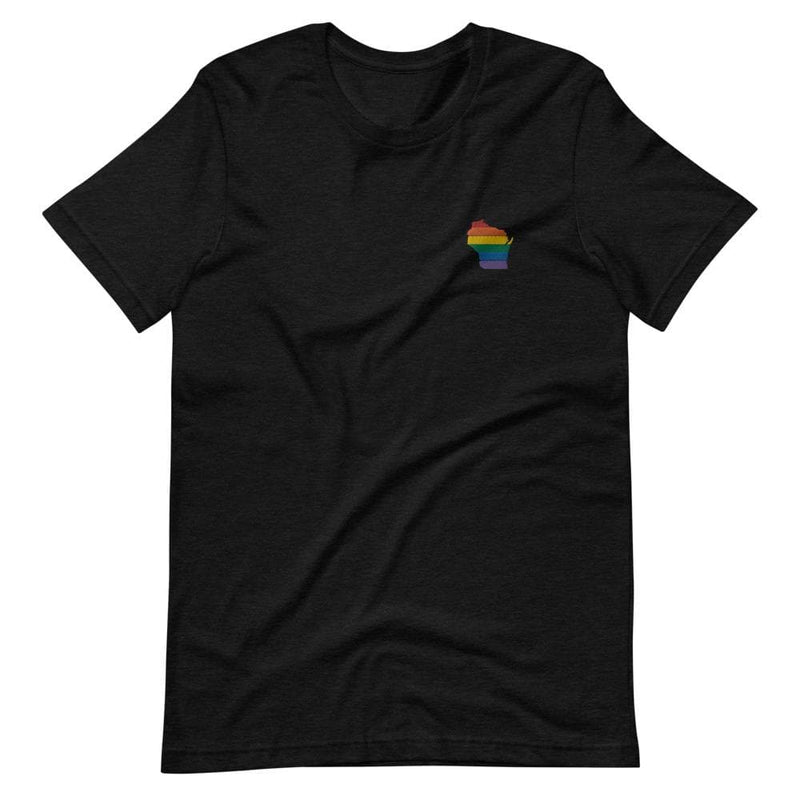 Wisconsin Rainbow Embroidered T-Shirt