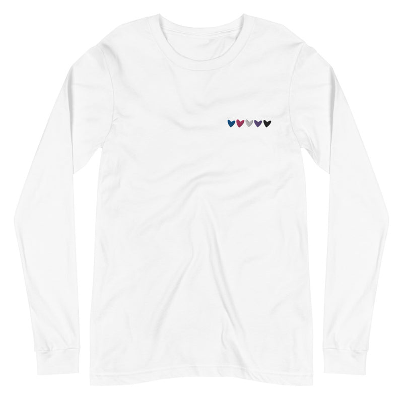 Genderfluid Hearts Embroidered Long Sleeve Tee