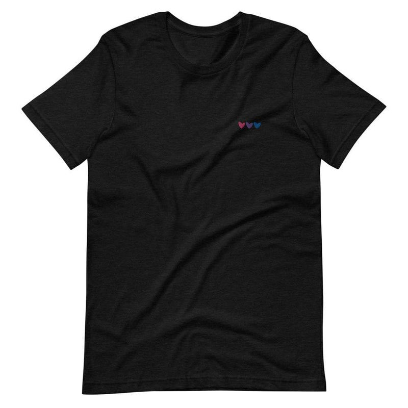Bisexual Hearts Embroidered T-Shirt