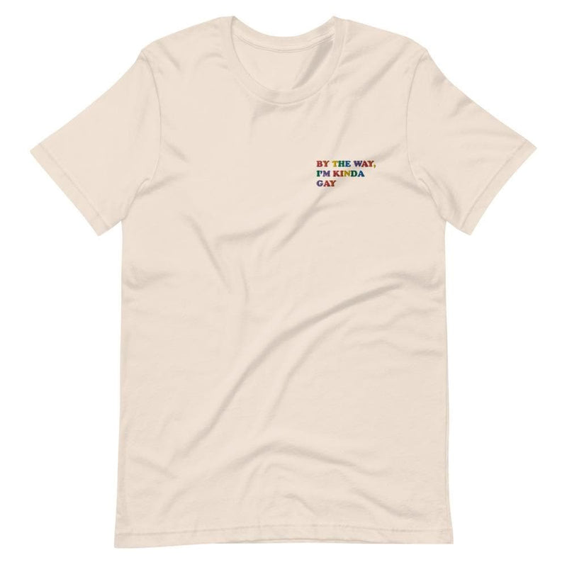 By The Way, I'm Kinda Gay Embroidered T-Shirt