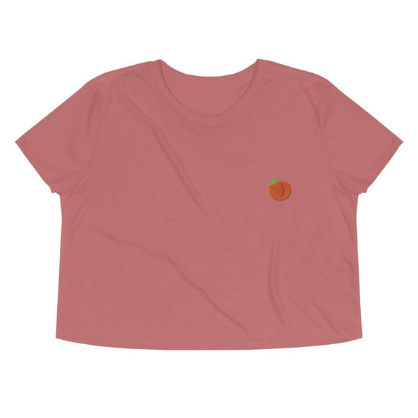 Peach Emoji Embroidered Crop Top