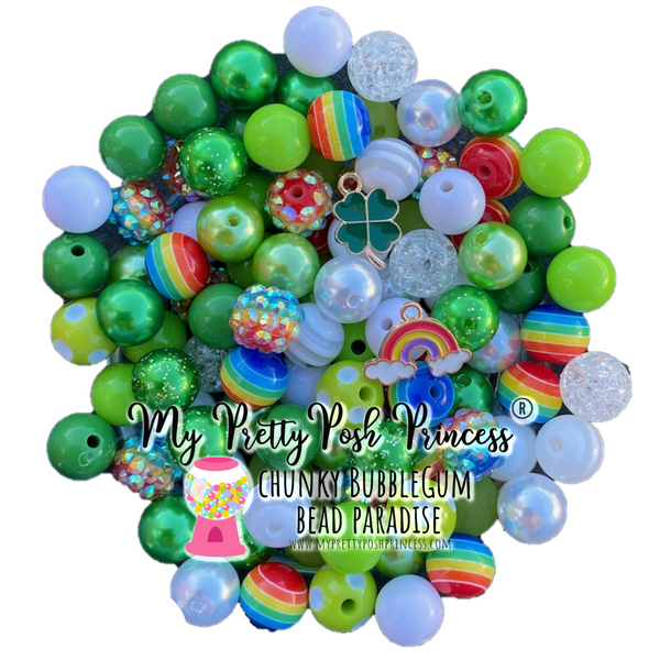12mm St. Patricks Day Rainbow (with 2 FREE Charms) 100 Count Themed Chunky Bubble Gum Bead Lot *Read Entire Product Description Before Purchase