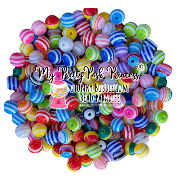 12mm Stripes Mixed Bulk Bag 100 Count Beads