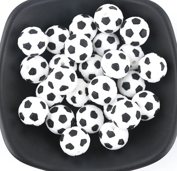 15mm Soccer Sports Silicone Teething Beads, 100% Food Grade, BPA Free, Sensory Beads, Loose Beads *Choose Color/Quantity