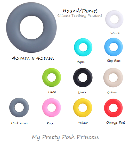 "43mm ""Round/Donut"" Silicone Teething Beads, 100% Food Grade, BPA Free, Sensory Beads, Loose Beads *Choose Color"