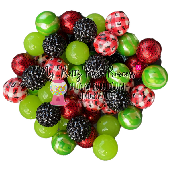 """Watermelon Picnic"" Limited Edition Chunky Bubble Gum Bead Themed Bead Lot **Read Item description before purchase!"