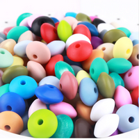 "12mm ""Lentils"" Silicone Teething Beads, 100% Food Grade Silicone, BPA Free, Sensory Beads, Loose Beads *Choose Color"
