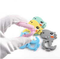 (SP33) Dinosaur Character (Hallow Belly) Silicone BPA Free Teething/Sensory Pendant 100% Food Grade Silicone Size : 8cm x 6cm *Choose Color