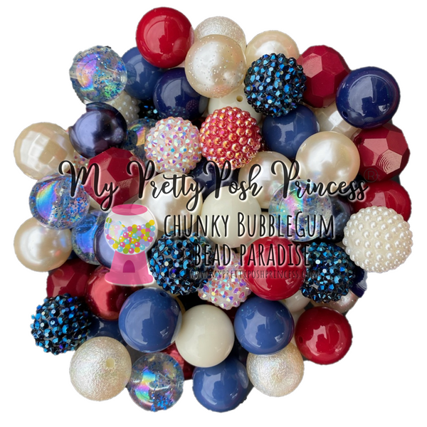 """Americana"" Chunky Bubble Gum Bead Themed Bead Lot **Read Item description before purchase!"