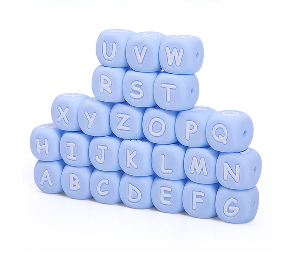 "BLUE 12mm x 12mm ""Alphabet"" Silicone Teething Beads, 100% Food Grade Silicone, BPA Free, Sensory Beads, Loose Beads *Choose Letter"