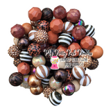 Brown Themed Chunky Bubble Gum Bead Lot *Read Entire Product Description Before Purchase