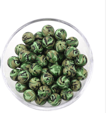 Camouflage  Print 12mm/15mm/19mm Silicone Teething Beads, 100% Food Grade, BPA Free, Sensory Beads, Loose Beads *Choose Size