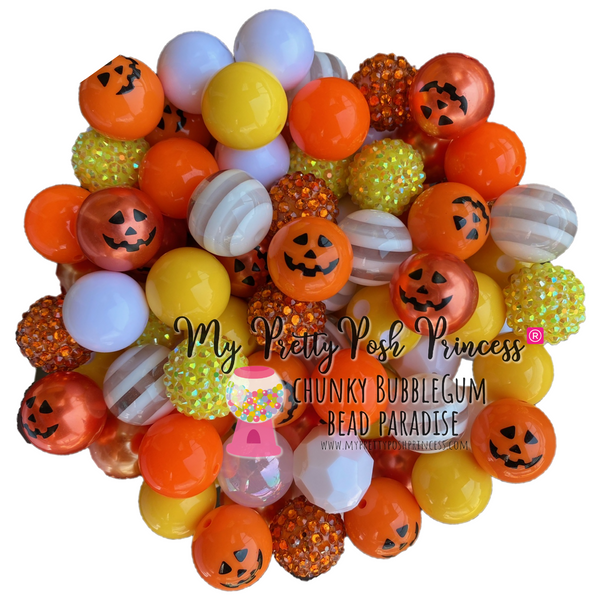 """Candy Corn Pumpkin"" (Orange, Yellow, White) Themed Chunky Bubble Gum Bead Lot *Read Entire Product Description Before Purchase"