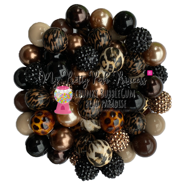 """Cheetah"" (Black, Brown, Toffee, Cheetah) Chunky Bubble Gum Bead Themed Bead Lot **Read Item description before purchase!"