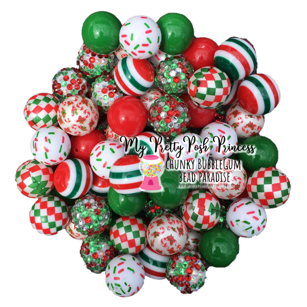Christmas (Red, Green, & White) Themed Chunky Bubble Gum Bead Lot *Read Entire Product Description Before Purchase