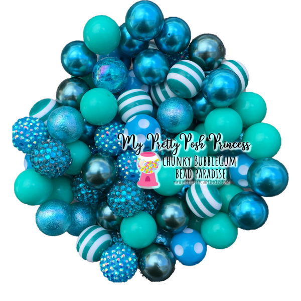 Dark Teal Themed Chunky Bubble Gum Bead Lot *Read Entire Product Description Before Purchase