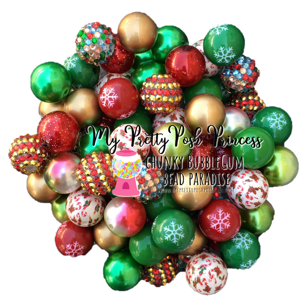 """Deck the Halls""  (LIMITED EDITION) Chunky Bubble Gum Bead Themed Bead Lot **Read Item description before purchase!"