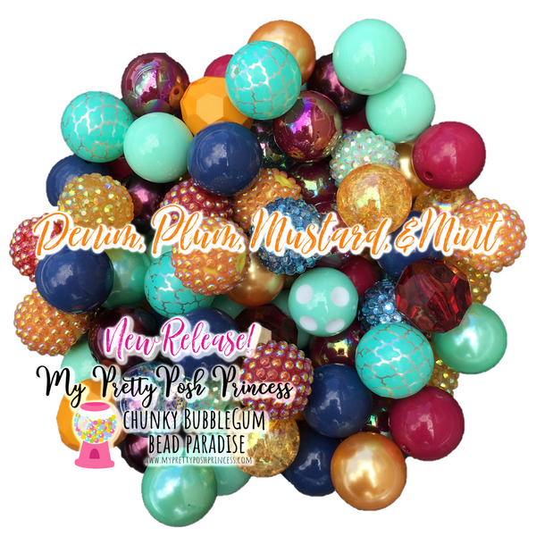 """Denim, Plum, Mustard, & Mint"" Chunky Bubble Gum Bead Themed Bead Lot **Read Item description before purchase!"