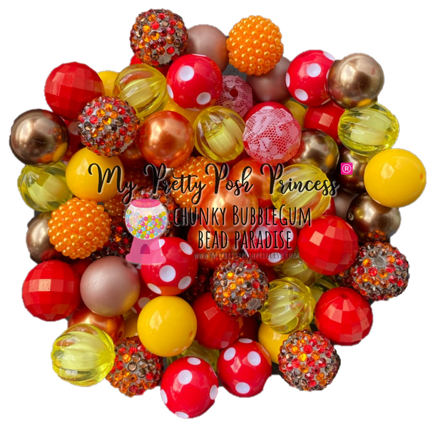 Fall: Orange, Brown, Red, & Yellow Chunky Bubble Gum Bead Themed Bead Lot **Read Item description before purchase!