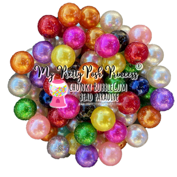20mm Glitter Pearls Chunky Bubble Gum Wholesale Bulk Bag 100 Count Beads Mix