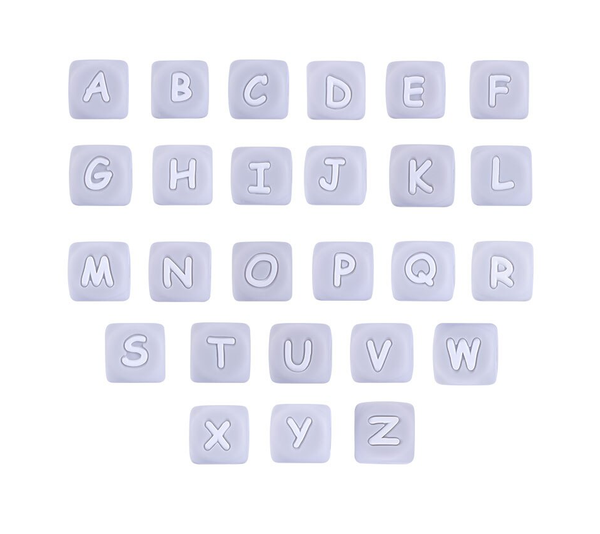"GRAY 12mm x 12mm ""Alphabet"" Silicone Teething Beads, 100% Food Grade Silicone, BPA Free, Sensory Beads, Loose Beads *Choose Letter"