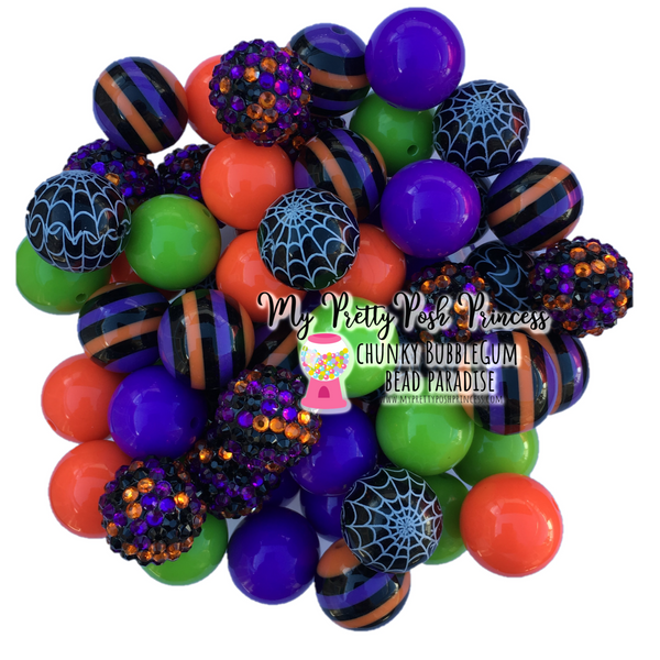 Halloween (Orange, Lime, Purple, Black) Themed Chunky Bubble Gum Bead Lot *Read Entire Product Description Before Purchase