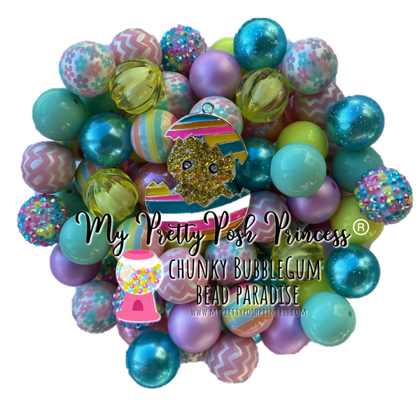 """Happy Easter""- *LIMITED EDITION with FREE PENDANT"" Chunky Bubble Gum Bead Themed Bead Lot **Read Item description before purchase!"