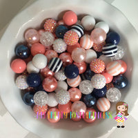 White, Navy, & Peach/Coral Themed Chunky Bubble Gum Bead Lot *Read Entire Product Description Before Purchase