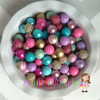 Gold, Lavender, Turquoise, & Medium Pink Themed Chunky Bubble Gum Bead Lot *Read Entire Product Description Before Purchase