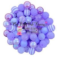 Lavender Chunky Bubble Gum Bead Themed Bead Lot **Read Item description before purchase!