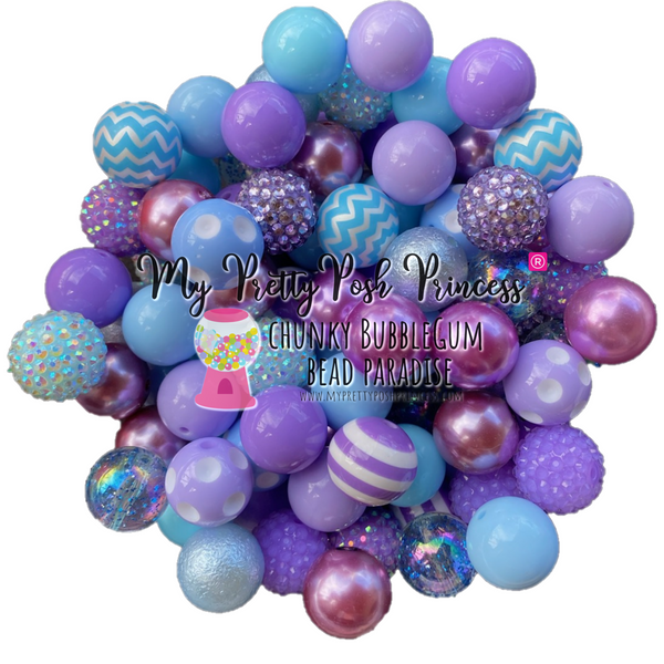 """Lavender & Light Blue"" Chunky Bubble Gum Bead Themed Bead Lot **Read Item description before purchase!"