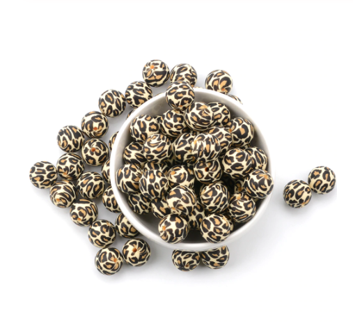 """Beige"" Leopard 12mm/15mm/19mm Silicone Teething Beads, 100% Food Grade, BPA Free, Sensory Beads, Loose Beads *Choose Size"