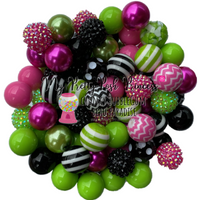 """Pink Halloween"" (Lime, Black, & Med. Pink) Themed Chunky Bubble Gum Bead Lot *Read Entire Product Description Before Purchase"