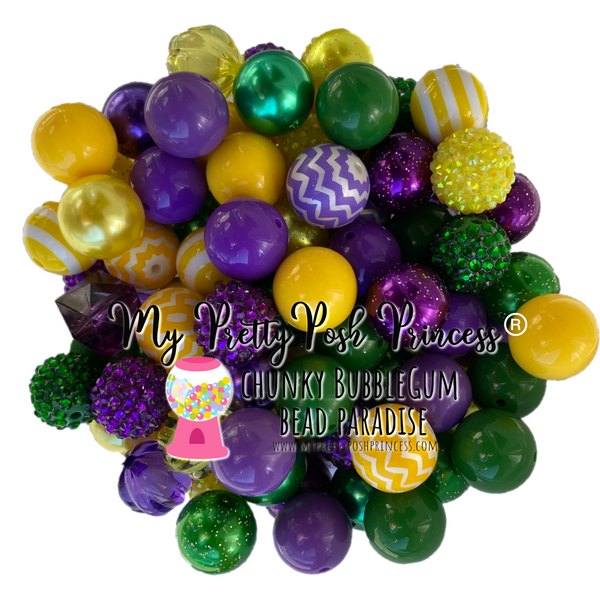 """Marti Gras Themed"" Chunky Bubble Gum Bead Themed Bead Lot **Read Item description before purchase!"